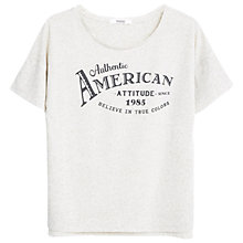 Buy Mango Printed Message Linen-Blend T-Shirt, Medium Brown Online at johnlewis.com
