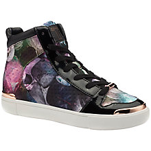 Buy Ted Baker Paryna High Top Flat Trainers, Pink Print Online at johnlewis.com