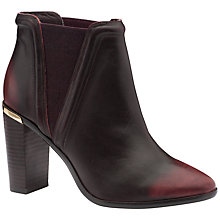 Buy Ted Baker Thuryn Block Heel Ankle Boots, Dark Red Leather Online at johnlewis.com