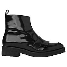 Buy Whistles Siam Block Heeled Ankle Boots, Black Leather Online at johnlewis.com
