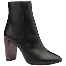 Buy Ted Baker Yamato Block Heel Ankle Boots, Black Leather Online at johnlewis.com