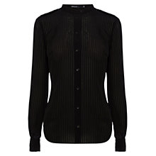 Buy Karen Millen Stripe Military Shirt, Black Online at johnlewis.com
