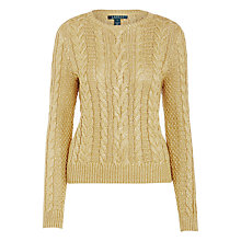 Buy Lauren Ralph Lauren Jontel Cable Knit Jumper, Holiday Gold Online at johnlewis.com