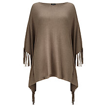 Buy Gerry Weber Fringed Knit Poncho, Camel Melange Online at johnlewis.com