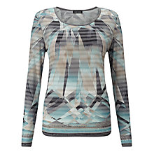 Buy Gerry Weber Printed Stripe Top, Blue/Grey Online at johnlewis.com