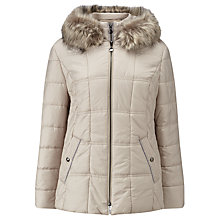 Buy Gerry Weber Faux Fur Hooded Coat, Beige Online at johnlewis.com