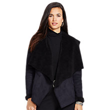Buy Lauren Ralph Lauren Ourea Faux Suede Waterfall Jacket, Black Online at johnlewis.com