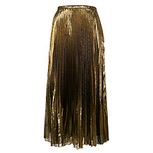 Buy Lauren Ralph Lauren Dayderia Pleated Skirt, Black/Gold Online at johnlewis.com