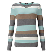 Buy Gerry Weber Embellished Stripe Jumper, Taupe/Glacier Online at johnlewis.com