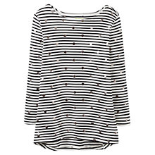 Buy Joules Harbour Stripe Spot Jersey Top, Black Stripe Online at johnlewis.com