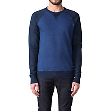 Buy Diesel Zaf Felpa Jersey Top, Blue Online at johnlewis.com