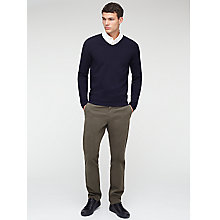 Buy Jigsaw Merino Stretch V Neck Jumper, Navy Online at johnlewis.com