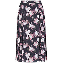 Buy Jaeger Floral Print Pleat Skirt, Black/Pink Online at johnlewis.com