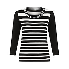 Buy Precis Petite Stripe Bow Jumper, Black/White Online at johnlewis.com