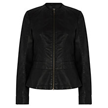 Buy Oasis Peplum Biker Jacket, Black Online at johnlewis.com