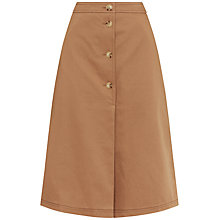 Buy Jaeger Button Through Trench Skirt, Dark Camel Online at johnlewis.com