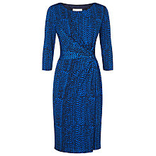 Buy Planet Ruched Print Jersey Dress, Mid Blue Online at johnlewis.com