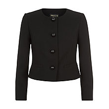 Buy Precis Petite Collarless Textured Jacket, Black Online at johnlewis.com