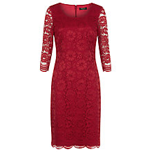 Buy Precis Petite Floral Lace Dress, Bright Red Online at johnlewis.com