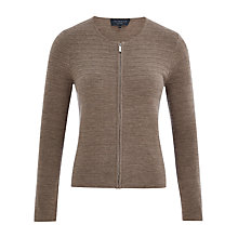 Buy Viyella Petite Pure Merino Zip Cardigan, Mink Online at johnlewis.com