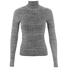Buy Miss Selfridge Rib Roll Neck Jumper, Mid Grey Online at johnlewis.com