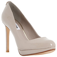 Buy Dune Amber Platform High Heeled Court Shoes,  Putty Patent Online at johnlewis.com