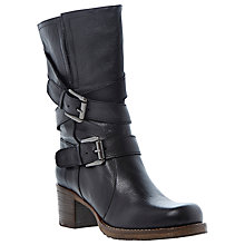 Buy Dune Rocking Buckle Detail Leather Calf Boot, Black Online at johnlewis.com