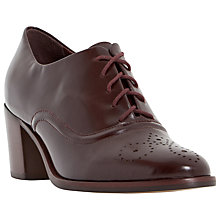 Buy Dune Fritz Block Heel Lace Up Shoe, Burgundy Leather Online at johnlewis.com