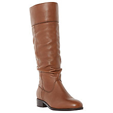 Buy Dune Tymone Slouched Style Knee High Boots, Tan Leather Online at johnlewis.com