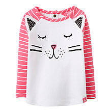Buy Baby Joule Catrin Cat Long Sleeve T-Shirt, White/Pink Online at johnlewis.com