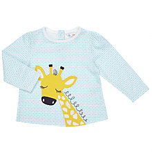 Buy John Lewis Baby Giraffe Applique Top, Teal/Cream Online at johnlewis.com