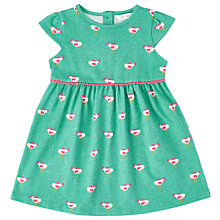 Buy John Lewis Baby Bird Print Jersey Dress, Pink/Green Online at johnlewis.com