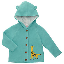 Buy John Lewis Baby Giraffe Cardigan with Hood, Teal Online at johnlewis.com