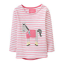 Buy Baby Joule Ava Stripe Horse Long Sleeve T-Shirt, Pink/White Online at johnlewis.com