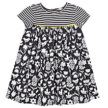 Buy John Lewis Bird Floral Dress, White/Grey Online at johnlewis.com