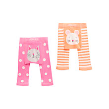 Buy Baby Joule Lively Cat and Mouse Leggings, Pack of 2, Pink/Orange Online at johnlewis.com