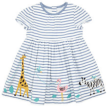 Buy John Lewis Baby Safari Border Dress, Blue/White Online at johnlewis.com