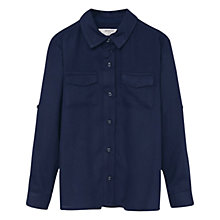 Buy Mango Kids Girls' Flap Pocket Shirt, Navy Online at johnlewis.com