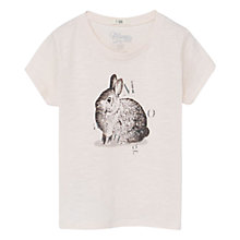 Buy Mango Kids Girls' Rabbit Print Cotton T-Shirt, Pastel Pink Online at johnlewis.com