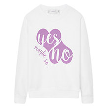 Buy Mango Kids Girls' Yes No Print Sweatshirt, White Online at johnlewis.com