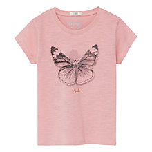 Buy Mango Kids Girls' Butterfly Print Cotton T-Shirt, Pastel Pink Online at johnlewis.com