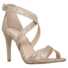 Buy Carvela Lisa Cross Strap High Heel Sandals, Silver Online at johnlewis.com