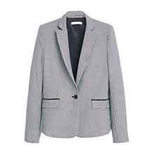 Buy Mango Houndstooth Wool Blend Blazer, Black Online at johnlewis.com