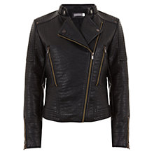 Buy Mint Velvet Textured Biker Jacket, Black Online at johnlewis.com