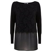 Buy Mint Velvet Lace Layer Knit, Black Online at johnlewis.com