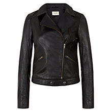 Buy Hobbs Imani Biker Jacket, Black Online at johnlewis.com