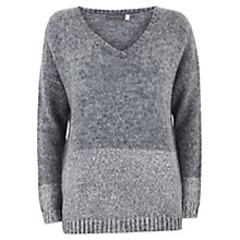 Buy Mint Velvet Foil Border Knit Jumper, Grey Online at johnlewis.com