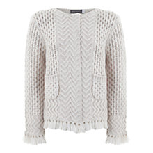 Buy Mint Velvet Fringe Hem Cardigan, Neutral Online at johnlewis.com