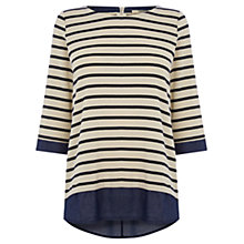 Buy Oasis Stripe Shirt Tail Sweatshirt, Multi Blue Online at johnlewis.com