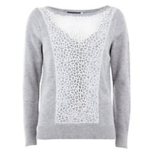 Buy Mint Velvet Lace Boxy Knit Jumper, Grey Online at johnlewis.com